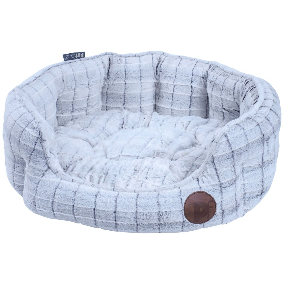 Petface White Plush Oval Bed